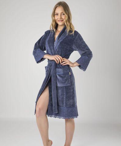 Женский велюровый халат 18191 серый  NUSA Турция