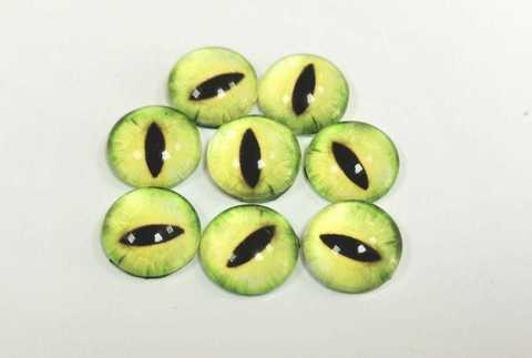 Глазки стеклянные, 10мм, желто-зеленые, 1 уп-8 шт( 11071)