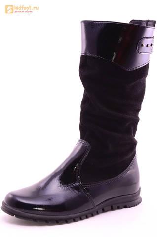 Сапоги для девочек из натуральной кожи и велюра на байковой подкладке Лель (LEL), цвет черный. Изображение 1 из 12.