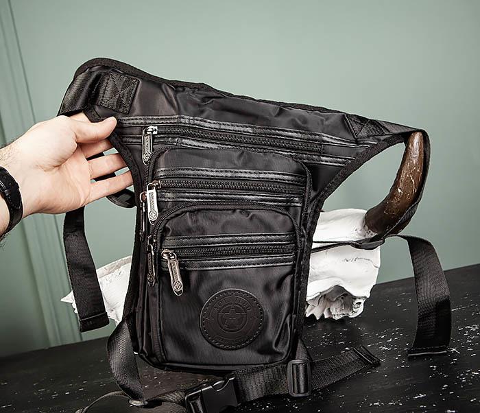 BAG505-1 Большая сумка на бедро из ткани «Оксфорд» черного цвета фото 02
