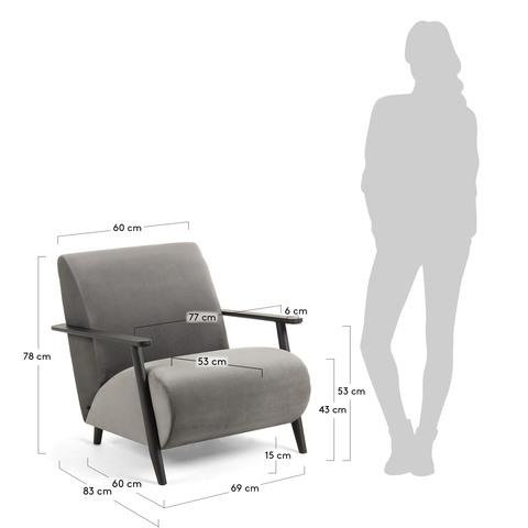 Кресло Marthan серый бархат подлокотники черные