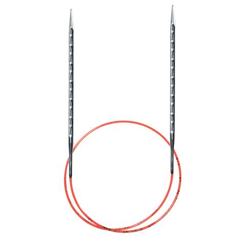 Спицы металлические круговые супергладкие с квадратным кончиком AddiNovel, №8, 80 см.