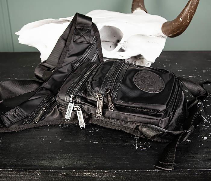 BAG505-1 Большая сумка на бедро из ткани «Оксфорд» черного цвета фото 03