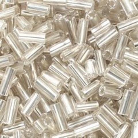 Бисер стеклярус. Цвет: серебро 11, Размер 4.5  мм