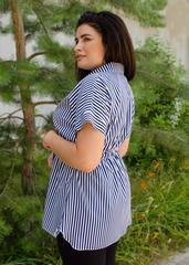 Нета. Стильная блуза для больших размеров. Полоса сине-белая.