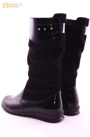 Сапоги для девочек из натуральной кожи и велюра на байковой подкладке Лель (LEL), цвет черный. Изображение 7 из 12.