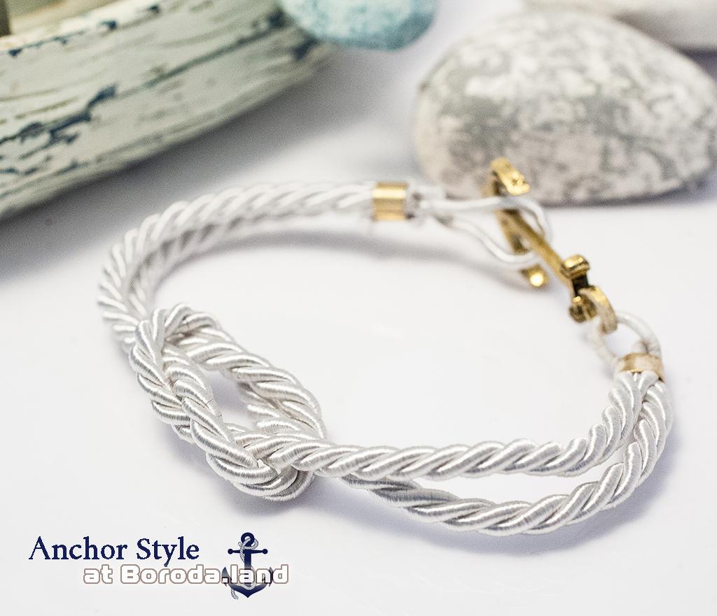 BD115-4 Белый браслет «Бесконечность» из плетеного шнура с металлическим якорем фото 03