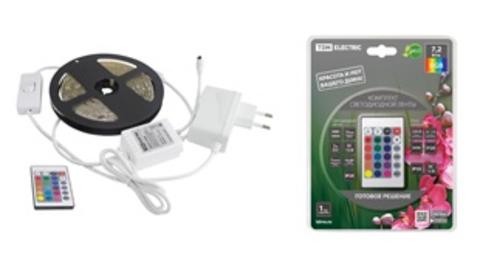 Комплект светодиодной ленты SMD5050-30 LED/м-12 В-7,2 Вт/м-IP20-RGB (1 м), 12 Вт, IR-контроллер TDM