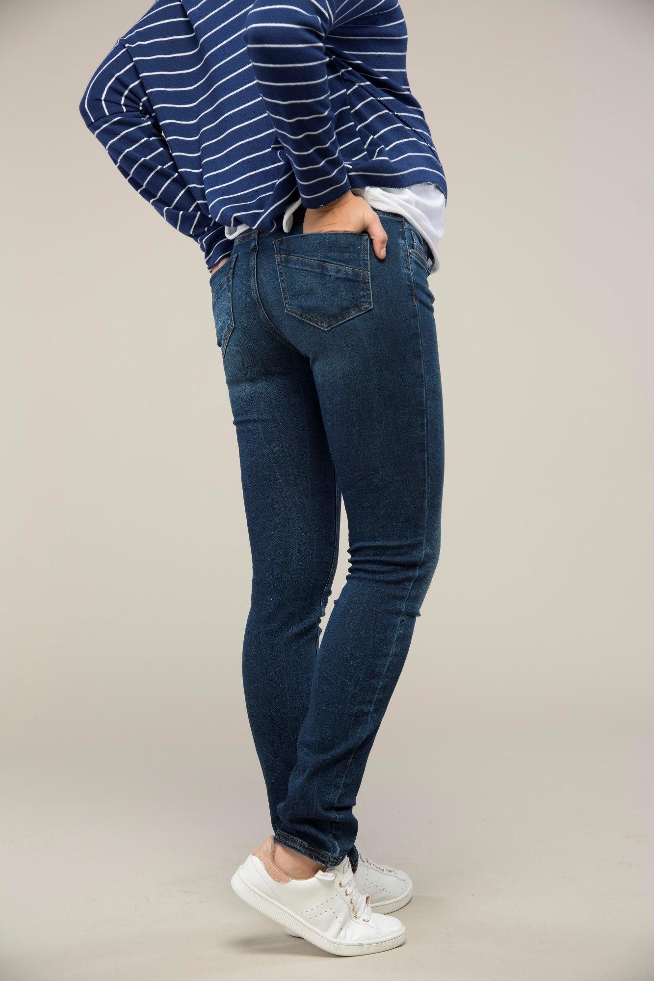 фото джинсы-скинни для беременных GEBE, средняя посадка, высокая трикотажная вставка от магазина СкороМама, синий, размеры.