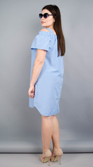 Клариса. Гарна сукня-сорочка плюс сайз. Блакитна клітинка.