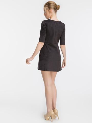 Короткое замшевое платье, черное 1