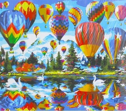 Картина раскраска по номерам 50x65 Воздушные шары на фоне гор (арт. RA3687)