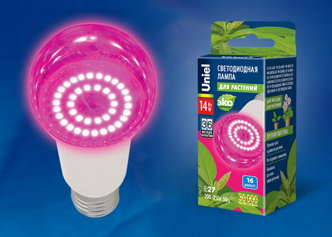 LED-A60-14W/SPSB/E27/CL PLP30WH Лампа светодиодная для растений. Форма