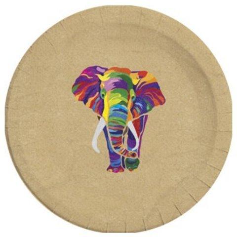 Тарелки ЭКО Слон Радужный 23 см, 8 штук