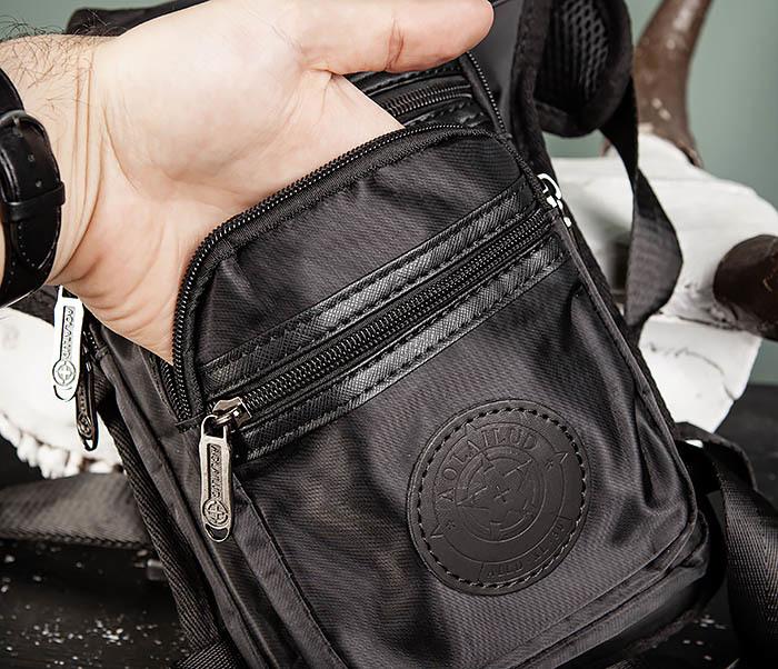 BAG505-1 Большая сумка на бедро из ткани «Оксфорд» черного цвета фото 06