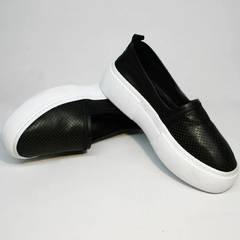 Модные слипоны женские Evromoda 457.024e White Black.