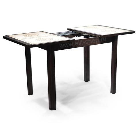 Стол КАППА ПР Венге / плитка №52 / подстолье венге / опора №04 венге / 104(141)х72см