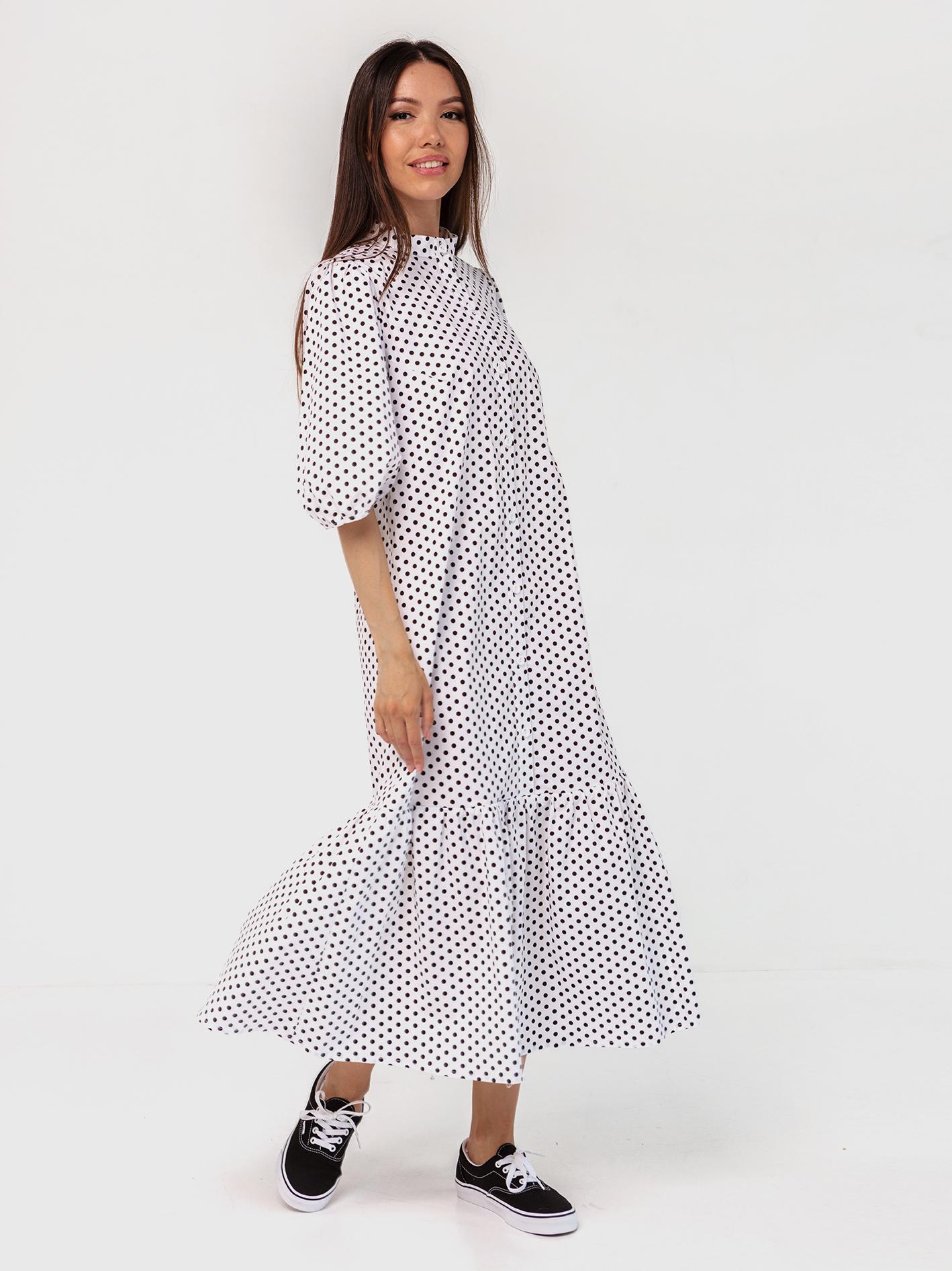 Платье-рубашка хлопковое в горошек