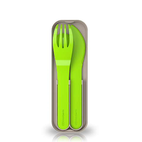 Набор из 3 столовых приборов в футляре Monbento Pocket, зеленый