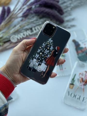 Чехол силиконовый прозрачный Iphone 11 pro /santa girl/