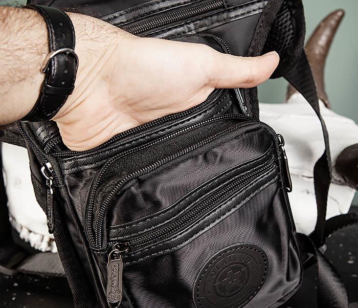 BAG505-1 Большая сумка на бедро из ткани «Оксфорд» черного цвета фото 07