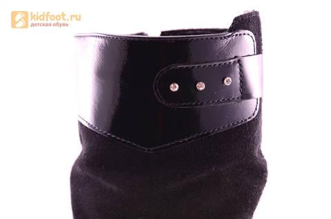 Сапоги для девочек из натуральной кожи и велюра на байковой подкладке Лель (LEL), цвет черный. Изображение 10 из 12.