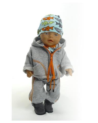 Большой трикотажный комплект (акулы) - На кукле. Одежда для кукол, пупсов и мягких игрушек.