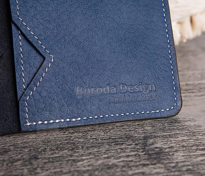 WB110-3 Кошелек синего цвета для купюр, карт, паспорта, окошко. «Boroda Design» фото 05