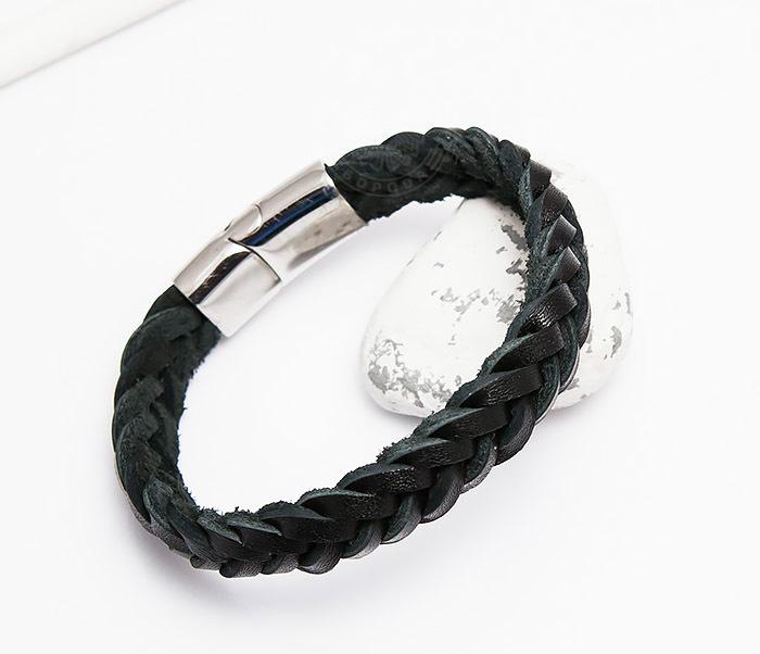 BM451-1 Плетеный браслет из натуральной кожи черного цвета (19 см) фото 03
