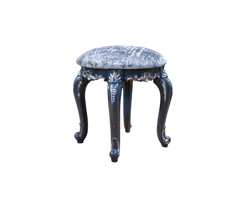 Круглая банкетка Венеция Люкс, опоры темно-синие с серебристой патиной