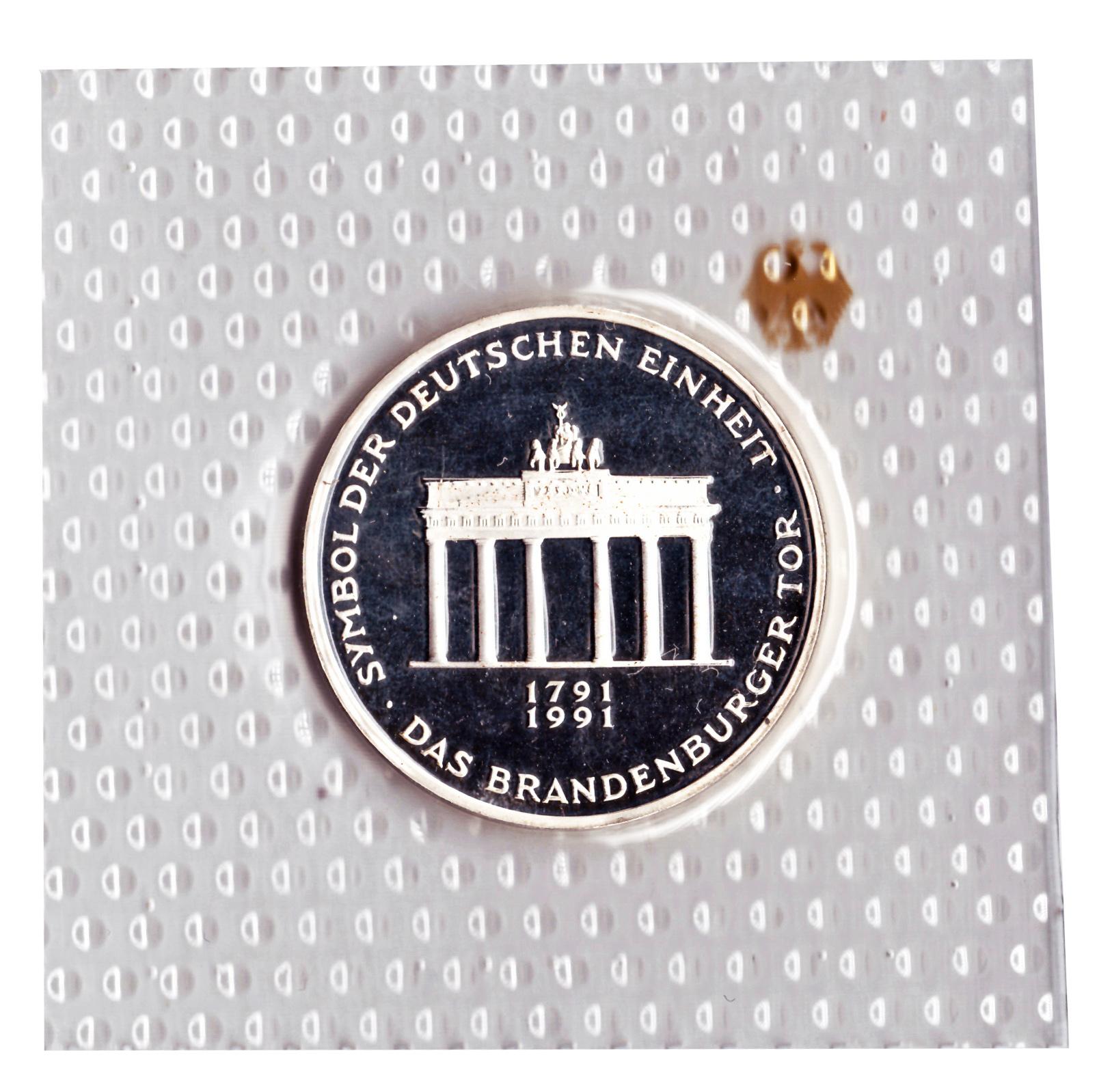 10 марок 1991 год (А) 200 лет городу Бранденбургским Воротам, Германия. PROOF в родной запайке