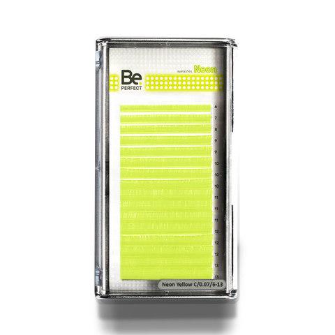 Цветные ресницы Be Perfect Neon Yellow MIX 16 линий