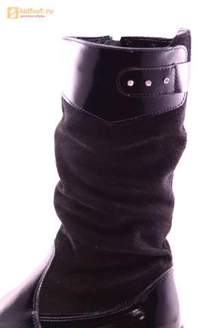 Сапоги для девочек из натуральной кожи и велюра на байковой подкладке Лель (LEL), цвет черный. Изображение 11 из 12.