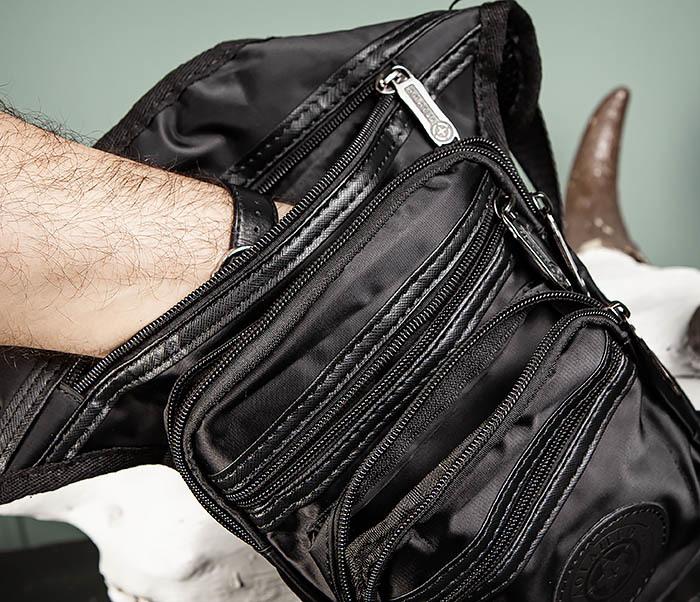 BAG505-1 Большая сумка на бедро из ткани «Оксфорд» черного цвета фото 09