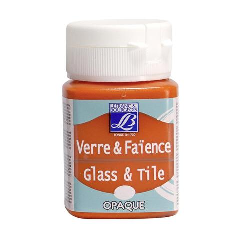 Краска по стеклу и керамике Lefranc&Bourgeois Glass&Tile 50 мл, непрозрачная 201, оранжевый