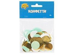 Конфетти Круги тишью,фольг Мятн/зол 2,5 см, 10 гр, 1 уп.