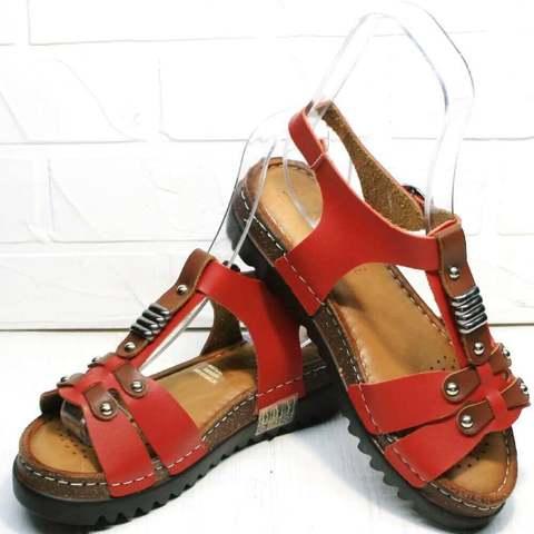 Женские сандали босоножки на толстой подошве. Кожаные сандали босоножки на танкетке Rifellini-Red.