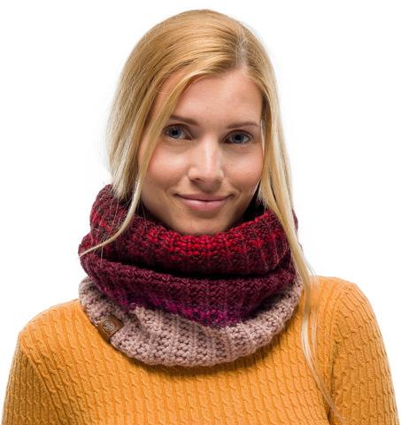Вязаный шарф-труба с флисом Buff Neckwarmer Knitted Polar Alina Maroon фото 1