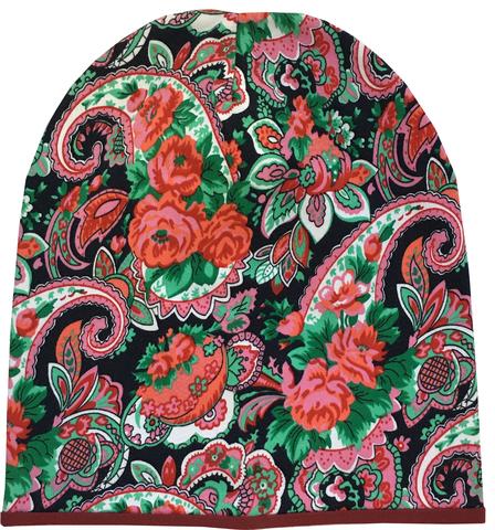 Женская шапочка бини с принтом Огурцы (Пейсли) - коралловые