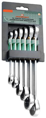 W68106S Набор ключей гаечных накидных трещоточных на держателе, 8-19 мм, 6 предметов