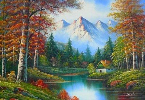 Картина раскраска по номерам 50x65 Домик у реки и гор