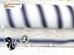 Лента репсовая градиент из ромбиков черно-белый 22 мм