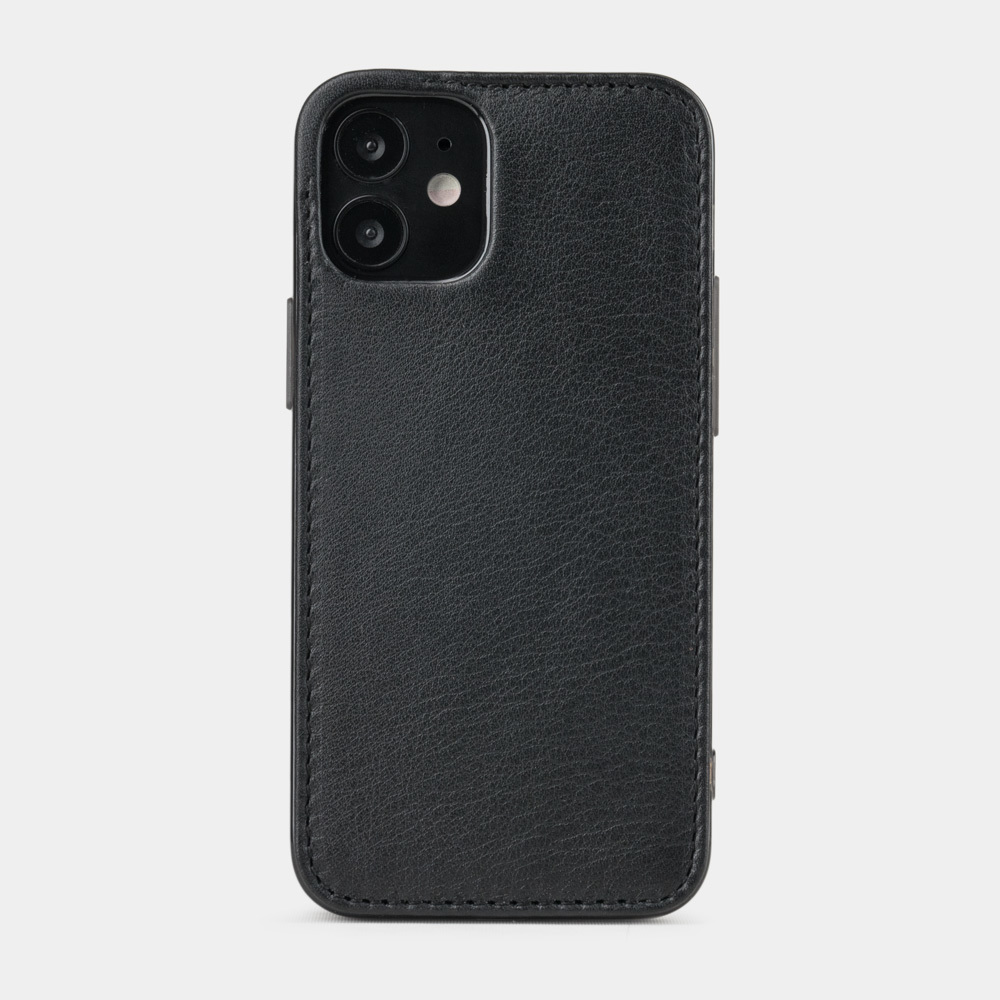 Чехол-накладка для iPhone 12 Mini из натуральной кожи теленка, черного цвета