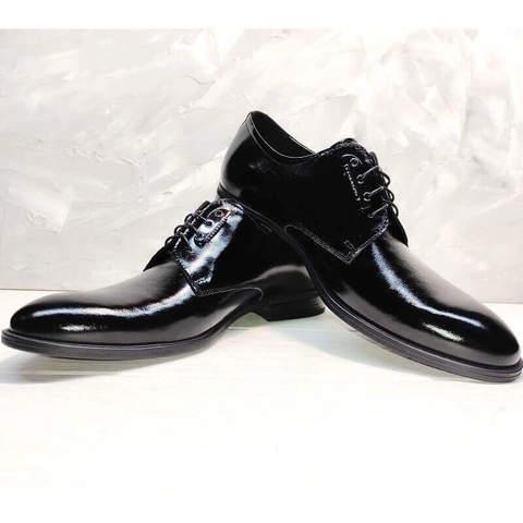 Кожаные туфли мужские. Лакированные туфли дерби. Черные туфли классика Ikoc-PBL.