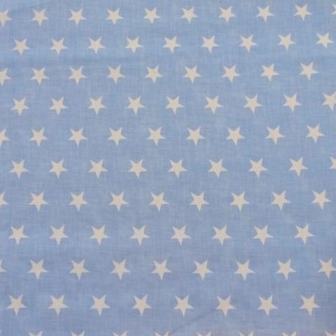 Ткань хлопковая белые звезды на голубом, отрез 50*80 см