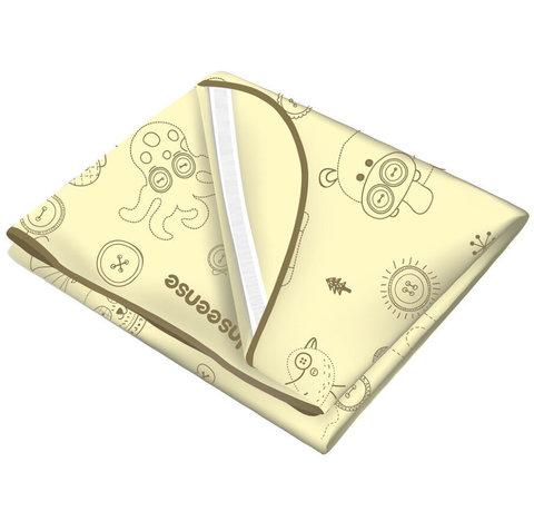 INSEENSE. Наматрасник ПВХ с резинками-держателями и окантовкой 70x100 см, желтый с рисунком