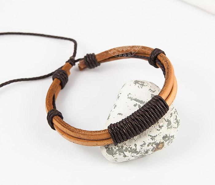 SL0007-BRN Оригинальный мужской браслет «Spikes» на затяжках из натуральной кожи