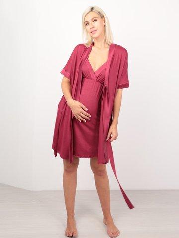 Euromama/Евромама. Комплект халат и сорочка вискоза с шелком, брусника