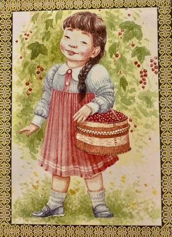 Алмазная Мозаика 40x50 Девочка собирает ягоды (арт. GA71056)