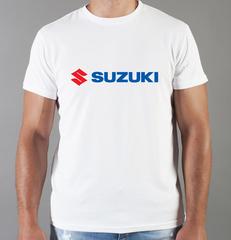 Футболка с принтом Сузуки (Suzuki) белая 005